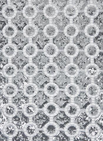 Sequin Crochet Scarf, Silver, hi-res