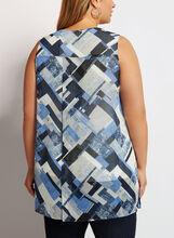 Tunique sans manches à imprimé géométrique, Bleu, hi-res