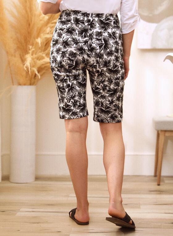 Tropical Print Bermuda Shorts, Black