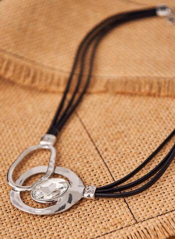Collier à cordes et anneaux métalliques , Argent,  accessoires, bijoux, collier, cordes, anneaux, métal, cristal, argent, printemps été 2021