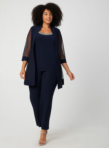 Mesh & Jersey Pantsuit, Blue,  fall winter 2019, beaded, pants, top, mesh, long sleeve