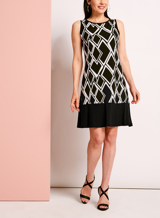 Geometric Print Trapeze Dress, Black, hi-res