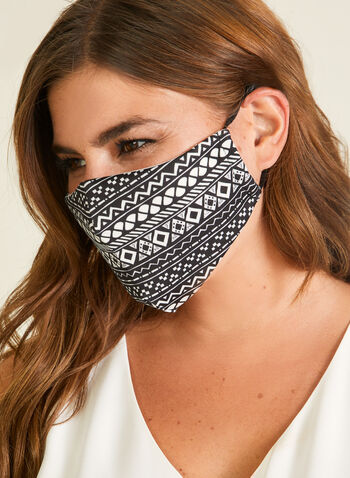 Geometric Print Mask With Filters, Black,  mask, protective, reusable, washable, adjustable, breathable, comfortable, spring summer 2020