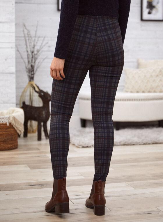 Tartan Print Pull-On Pants, Blue