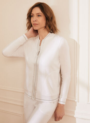 Zip Front Metallic Trim Top, White,  top, long sleeves, zip front, metallic trim, cotton, stretchy, spring summer 2021