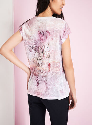 Butterfly Print Burnout T-Shirt, , hi-res