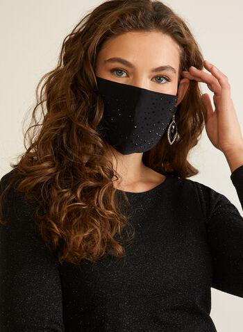 Rhinestone Embellished Mask, Black,  mask, sequin, washable, reusable, fall winter 2020