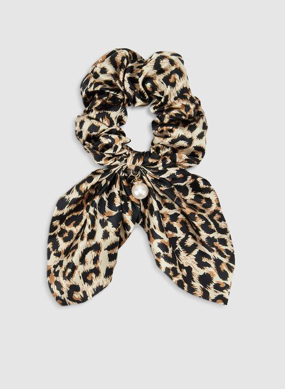 Leopard Print Hair Tie, Black, hi-res
