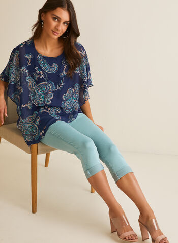 Pull-On Denim Capri Pants, Blue,  capri, pull-on, straight leg, denim, tromp-l'oeil, roll-up hems, spring summer 2020