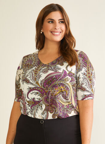 Paisley Print Elbow Sleeve Top, Multi,  top, elbow sleeves, v-neck, jersey, paisley print, fall winter 2020