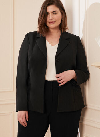 Three Button Notch Collar Jacket, Black,  blazer, jacket, professional, work, structured, three-button, 3 button, shoulder pad, notched collar, notch, long sleeve, waist detail, spring summer 2021, made in Canada