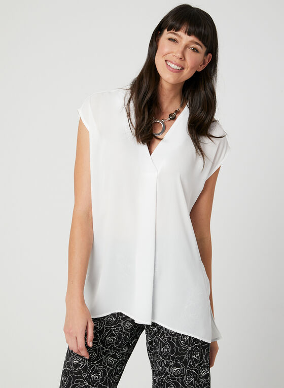 V-Neck Blouse, Off White, hi-res