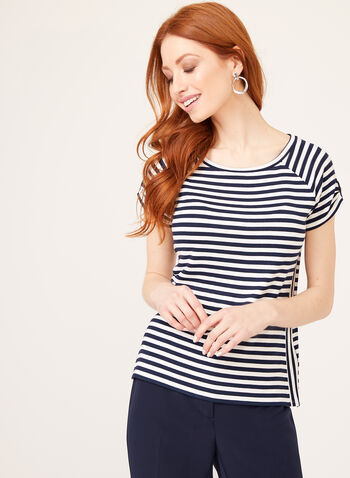 Stripe Print Cap Sleeve T-Shirt, White, hi-res