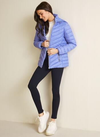 Manteau matelassé en duvet végane, Bleu,  printemps été 2020, manteau, matelassé, capuchon, duvet, éthique, végane, polyester, poches, cordons de serrage