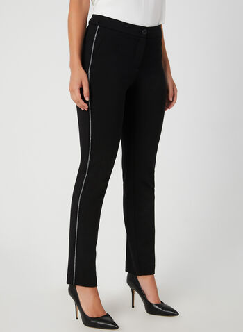 City Fit Straight Leg Pants, Black, hi-res,  straight leg, glitter, contrast trim, stretchy, fall 2019, winter 2019