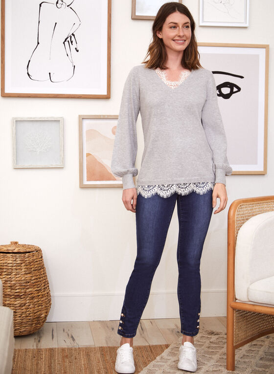 Lace Detail Fooler Sweater, Grey