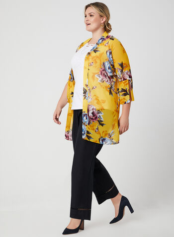 Open Front Chiffon Duster, Yellow, hi-res
