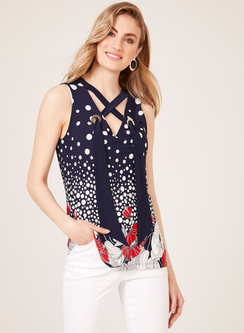 Sleeveless Lace Up Detail Top, Blue, hi-res