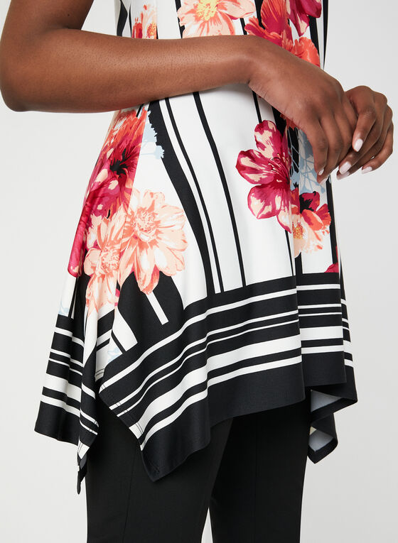 Floral Print Jersey Tunic, Black, hi-res