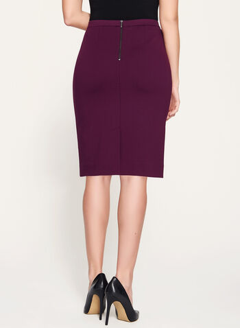 Ponte Back Slit Pencil Skirt  , Purple, hi-res