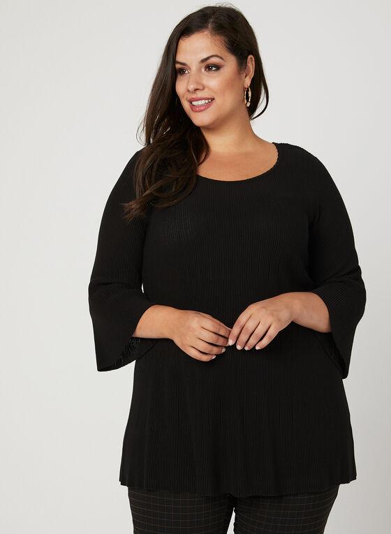 Pull tunique en tricot et manches évasées, Noir, hi-res