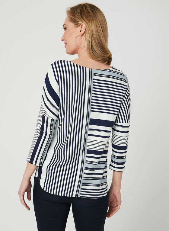 Linea Domani - Stripe Print Top, Blue, hi-res
