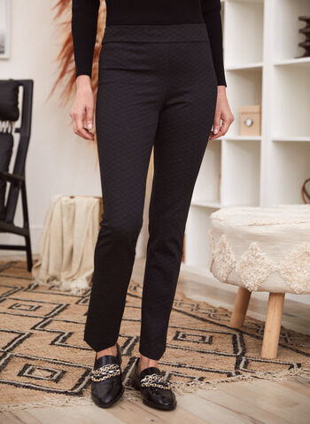 Straight Leg Pull-On Pants, Multi,  made in canada, fall winter 2021, pants, straight leg, pull on, grid pattern, print, small grid, stretchy, comfy