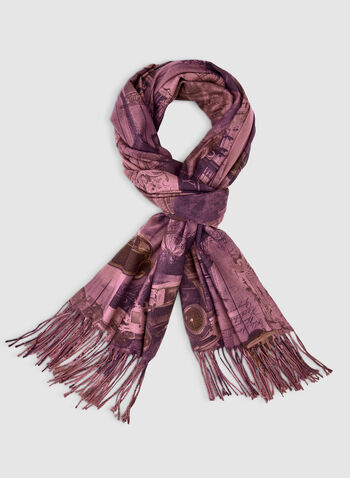 Pashmina City Print Scarf, Purple,  scarf, oblong, pashmina, infinity, fringe, print, fall 2019, winter 2019