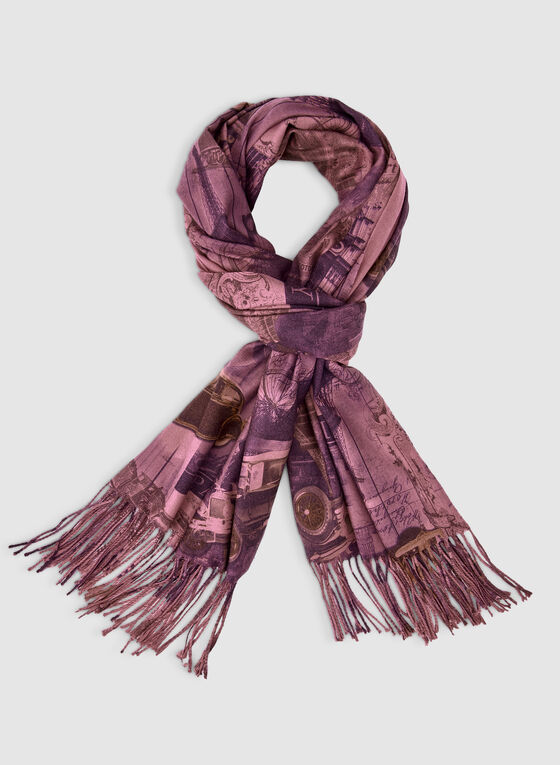 Pashmina City Print Scarf, Purple