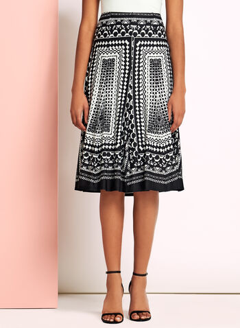 Graphic Print A-Line Skirt, Black, hi-res