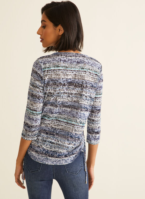 ¾ Sleeve Aztec Print Top, Blue