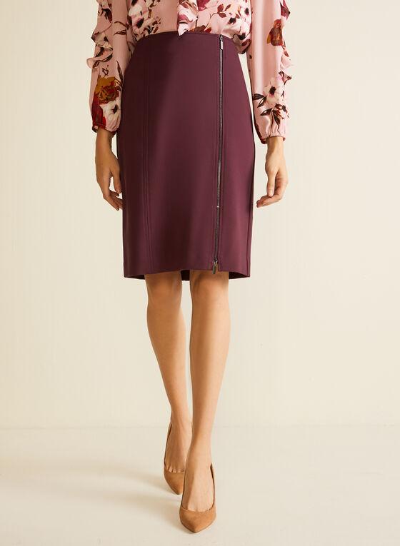 Zip Closure Straight Skirt, Purple