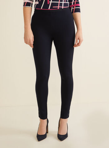 Button Detail Leggings, Blue,  leggings, button detailing, mid-rise, ankle length, spring 2020