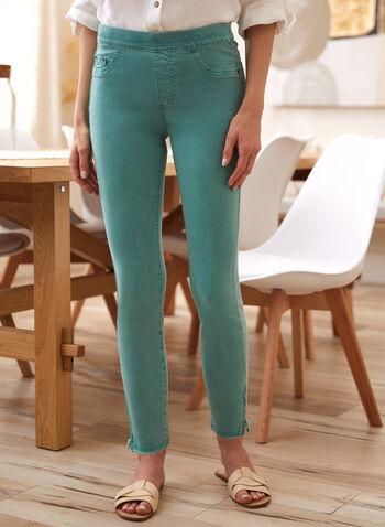 Charlie B - Pantalon à ourlet effiloché et fermoir, Vert,  pantalon, charlie b, à enfiler, poches, rivets métalliques, effiloché, fermoir, extensible, printemps été 2021