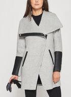 Marcona - Faux Leather Trim Wool Blend Coat, Grey, hi-res