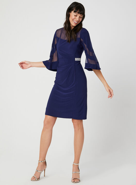 Crystal Detail Illusion Neck Dress, Blue, hi-res