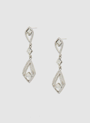 Faceted Crystal Dangle Earrings, Silver, hi-res