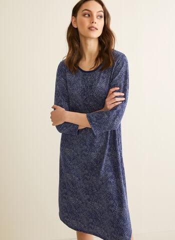 Claudel Lingerie - Printed Nightgown, Blue,  spring summer 2020, 3/4 sleeves, jersey fabric, nightshirt, pyjama