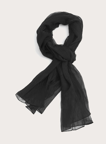 Crinkled Solid Colour Evening Wrap, Black, hi-res