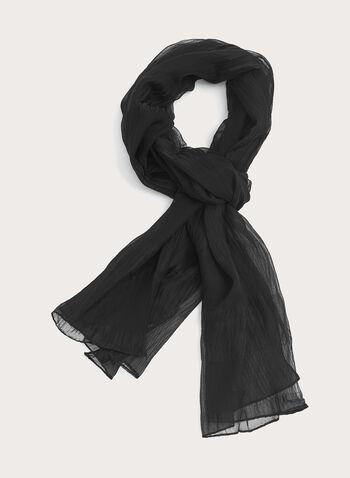 Foulard oblong à l'aspect chiffonné, Noir, hi-res