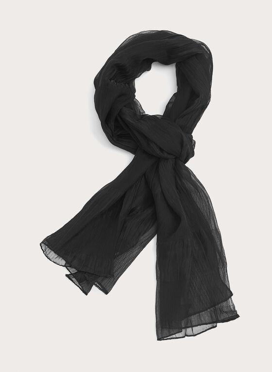 Crinkled Solid Colour Evening Wrap, Black, hi-res