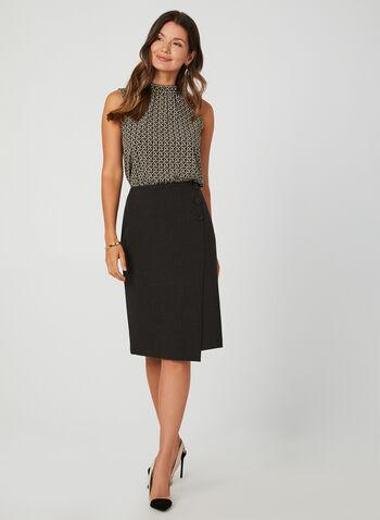 Prince Of Wales Print Skirt, Brown, hi-res,  pencil skirt, plaid skirt