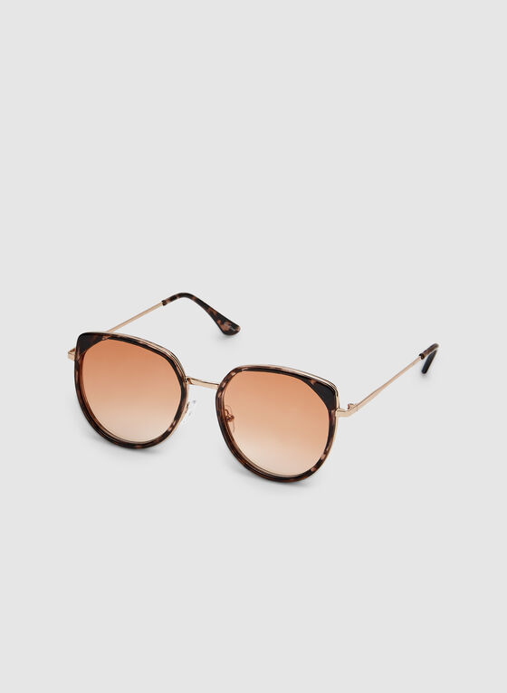 Large Round Sunglasses, Brown, hi-res