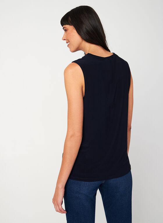 Sleeveless V-neck Blouse, Blue, hi-res