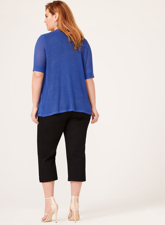 Short Sleeve Edge-to-Edge Pointelle Knit Cardigan, Blue, hi-res