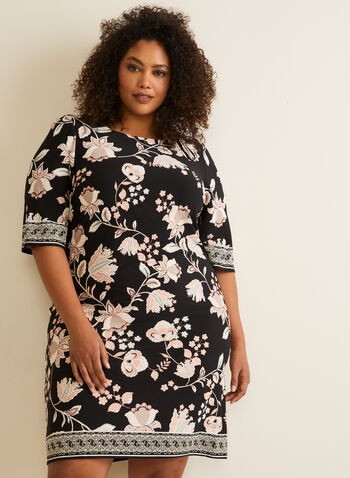 Textured Floral Jersey Dress, Black,  day dress, 3/4 sleeves, floral, jersey, textured, scoop neck, spring summer 2020