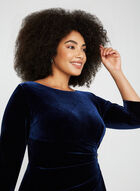 3/4 Sleeve Velvet Dress, Blue