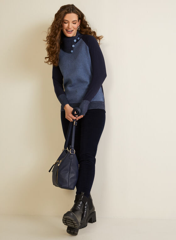 Herringbone Motif Split Collar Sweater, Blue
