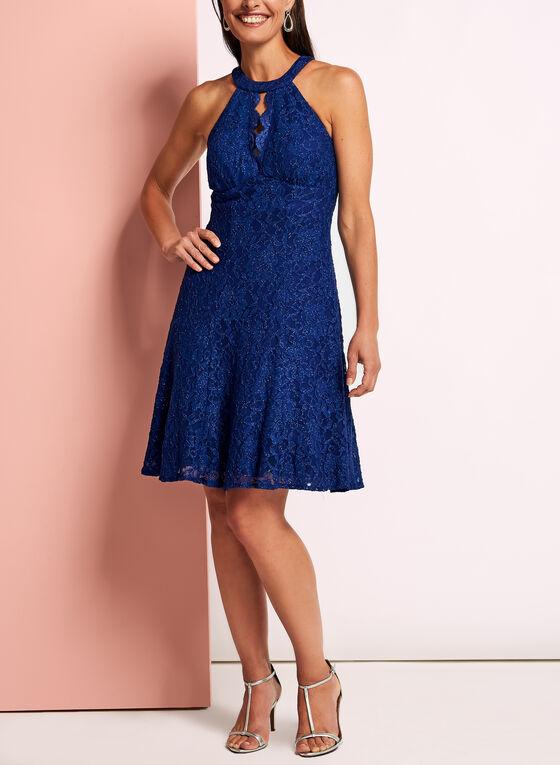 Glitter Lace Fit & Flare Dress, Blue