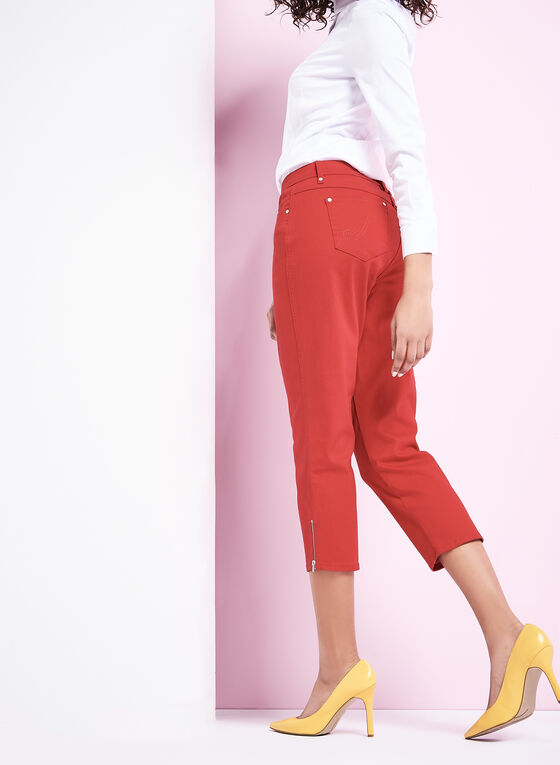 Straight Leg Jean Capris, Red, hi-res